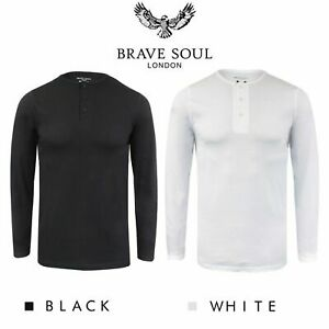 Brave-Soul-Casual-Grandad-Long-Sleeve-Top-Plain-T-Shirt