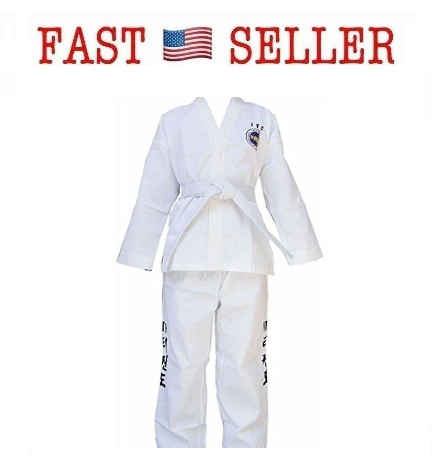 7.5 Oz ITF Taekwondo Karate Uniform White (Small) -  NEW - FAST   sale online