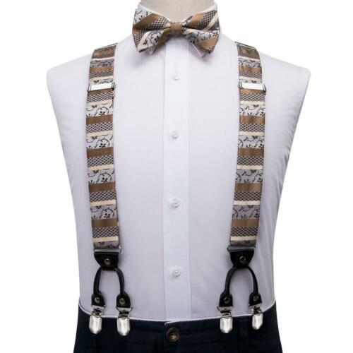 Mens Y-Back Braces 35mm 6 Clips Heavy Duty Elastic Suspenders Bow Tie Hanky Set