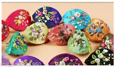Wholesale 10pcs Chinese HANDMADE Embroidered Flower Silk Jewelry Boxes Coin Bags