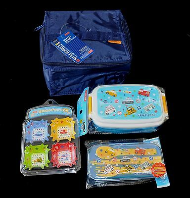 Bento Lunch Box with Bento Accessories Set Blue VERY CUTE  ***US SELLER***