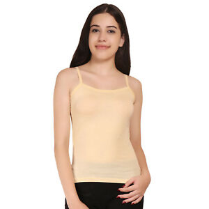 Women-039-S-Beige-Colour-Long-Cami-With-Built-In-Shelf-Bra-Adjustable-Strap-Camisole