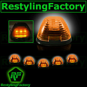 99-15-Ford-Super-Duty-F250-F350-F450-5pcs-Cab-Roof-AMBER-LED-Lights-AMBER-Lens