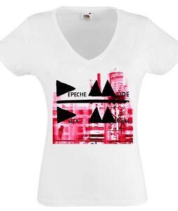 Depeche Mode Logo damen lady Black T-shirt Shirt Rock Tee V-Ausschnitt