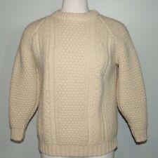 Lisheen Cream Irish Fishermen Sweater Crew Neck Small Wool Ireland Heavy Thick