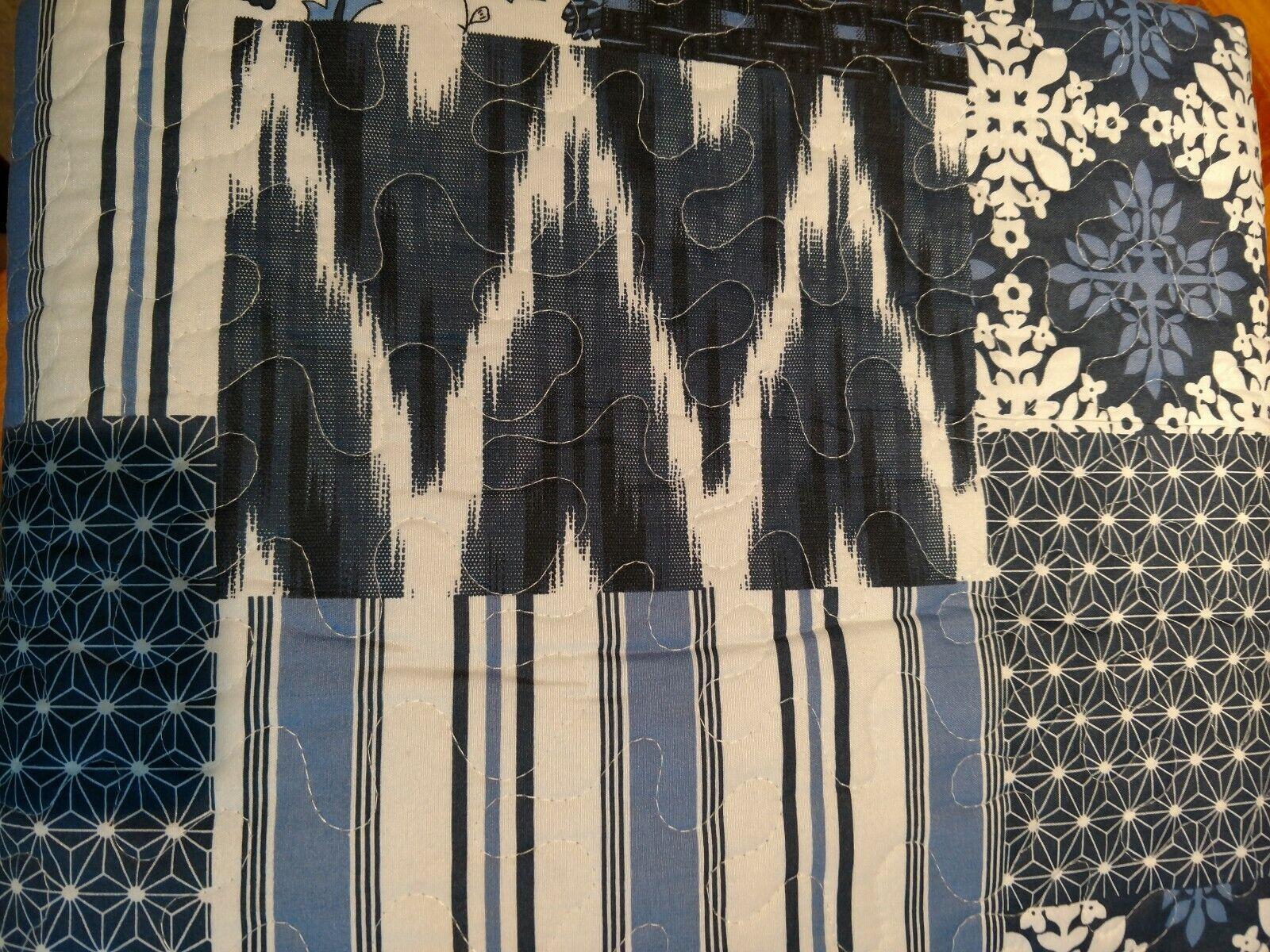 Denim blu Farmhouse Patchwork Floral Bedspread Set - Cotton Bohemian - QUEEN