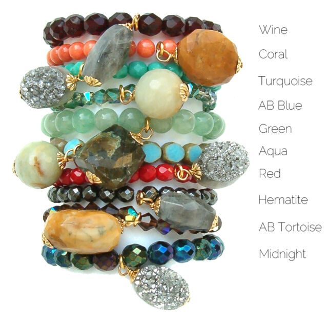 John Wind Bracelet Maximal Art Semi Precious Stretchy New London Jewelry