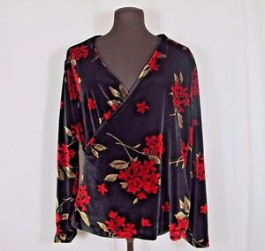 Black-Velvet-Red-Floral-Faux-Wrap-Blouse-Handmade-Womens-Medium