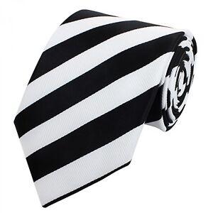 Buero-Krawatte-8cm-feine-Struktur-Fabio-Farini-edel-mit-weiss-schwarzen-Streifen