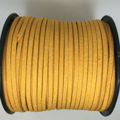 approx 90m length spool 3mm wide x1.5mm thick Faux Suede Leather Cord Reel