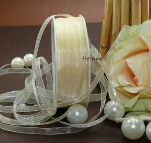 10-50 m organzaband perlas bucles de banda Banda perlas blanco crema