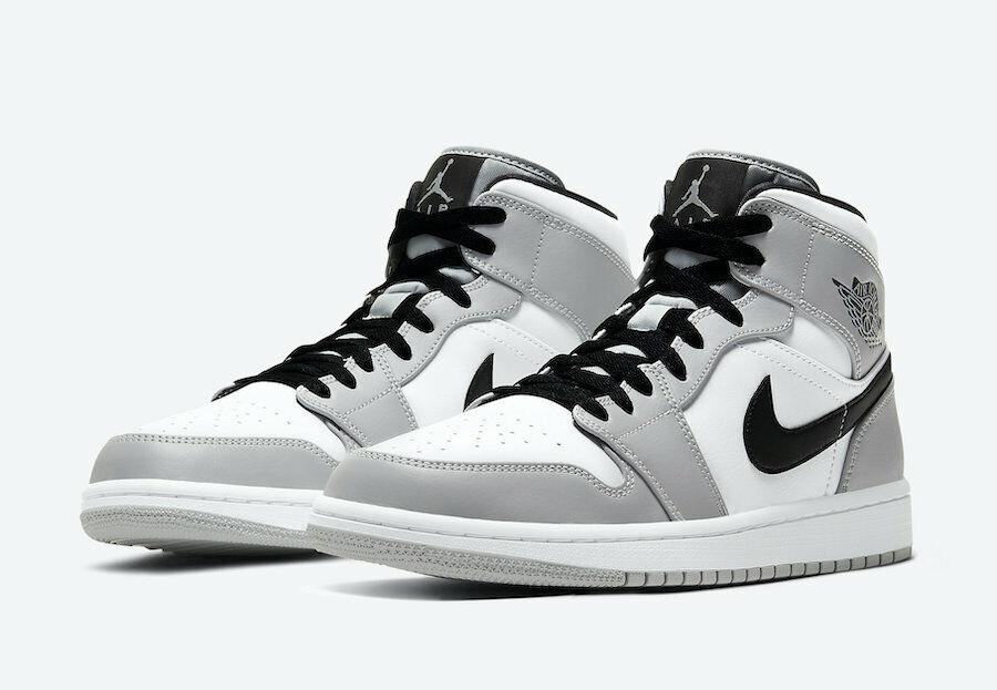 2020 Nike Air Jordan 1 Mid Light Smoke Grey GS 554725-092 Size 7y ...