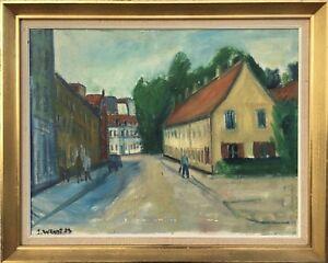 Jorgen-Wendt-1930-2007-City-View-with-person-expressive-Denmark-60-x-75-cm