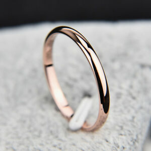 Image Is Loading Anium Steel Rose Gold Wedding Rings Simple