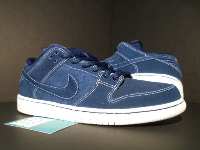 2013 Nike Dunk Low Pro SB MIDNIGHT MIDNIGHT MIDNIGHT NAVY blu bianca 304292-440 NEW 10 5f230c