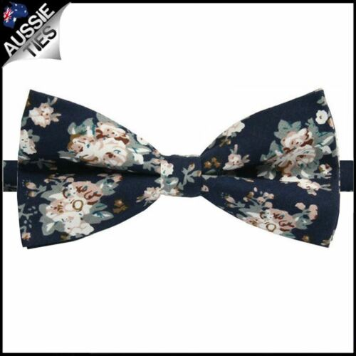 Men/'s Midnight with Dusky Pink /& White Floral Pattern Mens Bow Tie