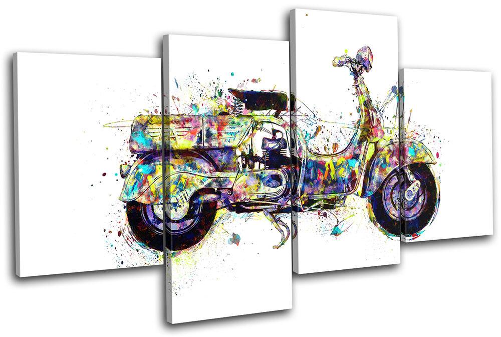 Moped Moped Moped Scooter Colourful Vintage MULTI TELA parete arte foto stampa e7d6e6