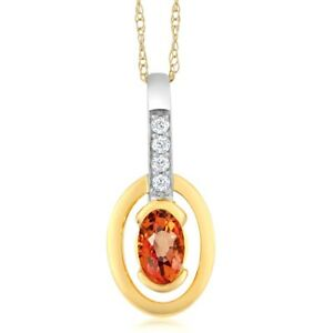 10K-Two-Tone-Gold-0-27-Ct-Oval-Orange-Sapphire-and-Diamond-Pendant-With-Chain
