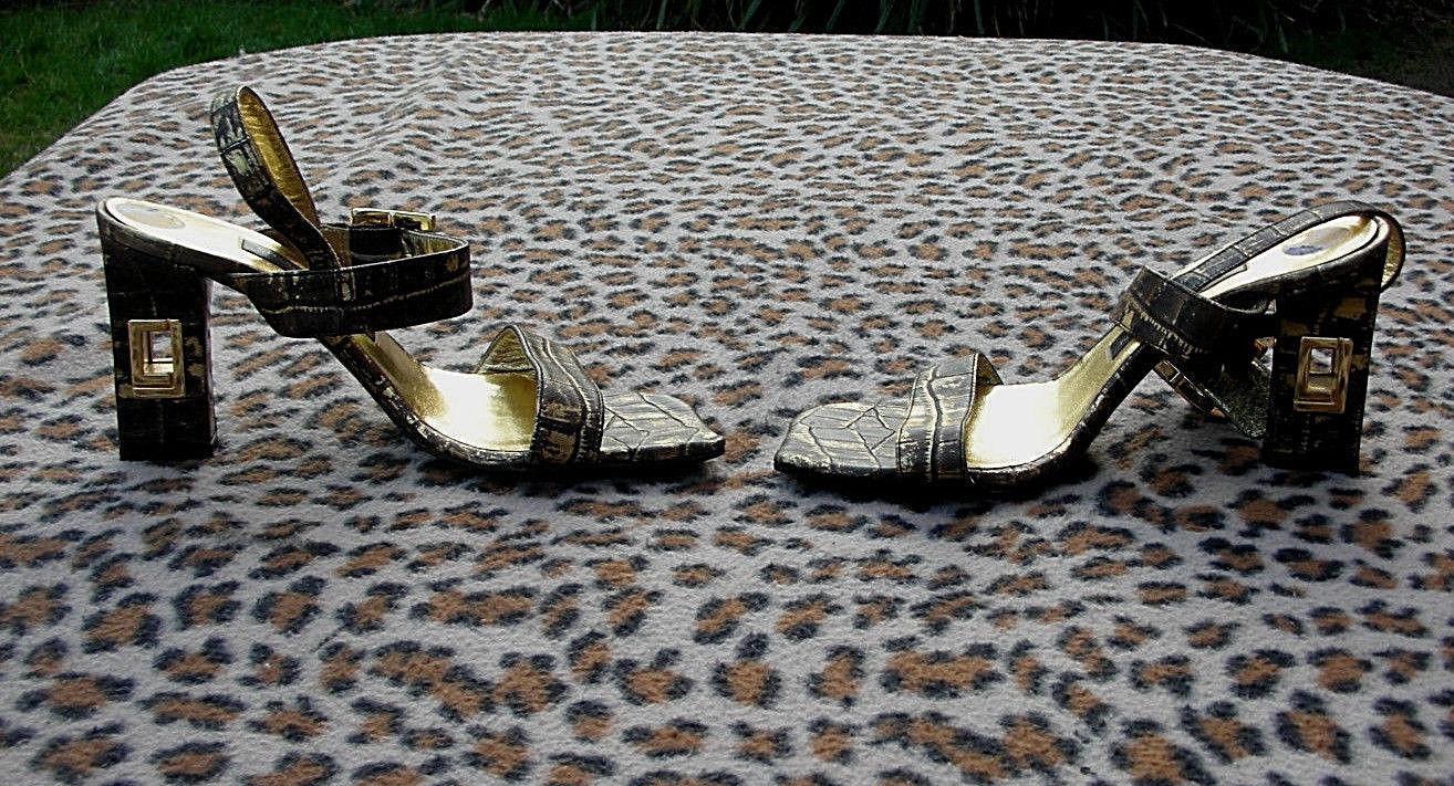 Charles Jourdan of Paris Leather crocodile effect sandals UK size 3 EU 36