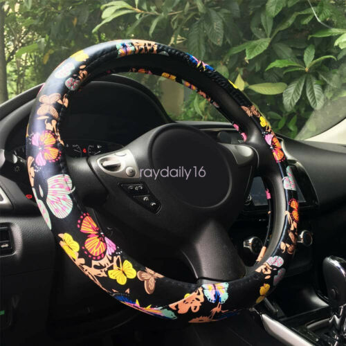 Universal 15 Ethnic Butterfly Pattern Pu Leather Car Steering Wheel Cover 38cm