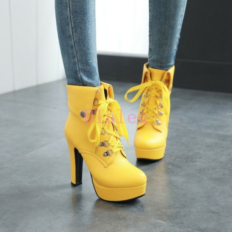 Womens Lace Up Riding Ankle Boot High Heel Block Platform Gladiator Shoes 4-10.5