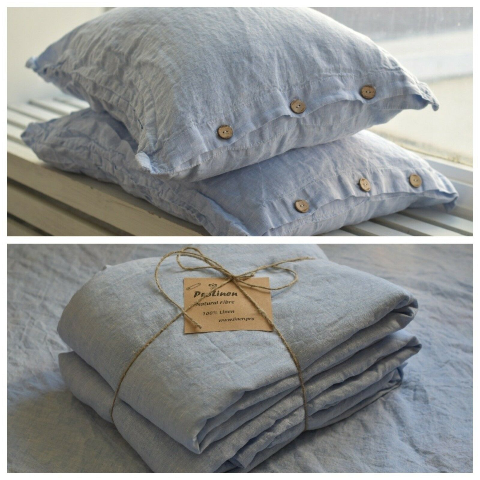 Linen SHEET SET of 4pc Stone Washed sheets and two pillowcases BUTTON blueeeee
