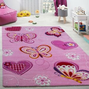 Image Is Loading Butterfly Rug Girls Pink Bedroom Carpet Children Room