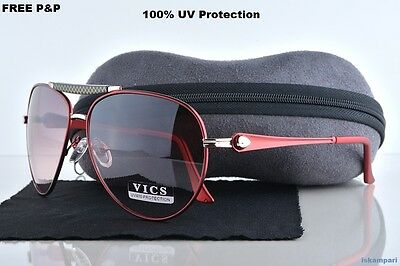 NEW RED WOMENS AVIATOR Sunglasses  UV400+Hard Case and Glasses Cloth