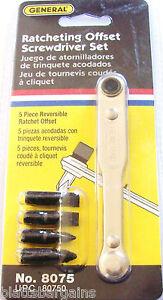 5pc general tools ratcheting offset screwdriver set 8075 ratchet bits precision ebay. Black Bedroom Furniture Sets. Home Design Ideas