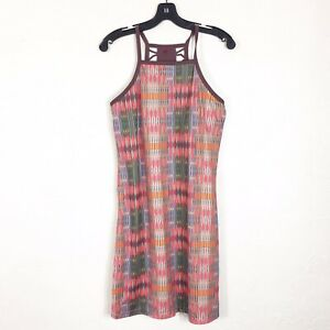 Prana-Size-S-Small-Aztec-Brown-Tan-Sleeveless-Caged-Back-Active-Wear-Dress