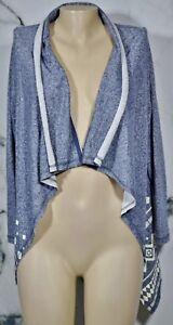 EN-CREME-Blue-Ivory-Patterned-Open-Cardigan-Sweater-Medium-Cotton-Polyester