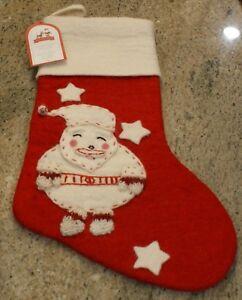 New Pottery Barn Kids Crewel Christmas Stocking Santa /& Reindeer NWT