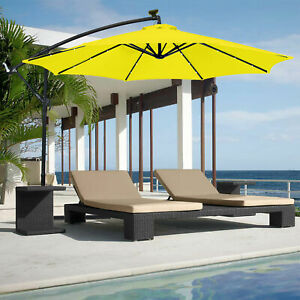Details About 10ft Yellow Outdoor Solar Led Panel Light Patio Offset Umbrella Stand Hand Crank
