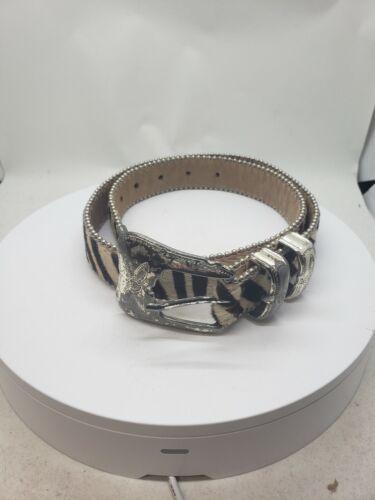 BB Simon zebra print  Cowhide Leather Belt S 100%