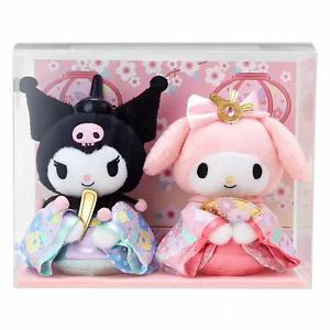"""Sanrio My Melody & Kuromi Sakura Hinamatsuri Kimono Plush Doll Gift 2PCS 6.7"""""""
