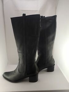 cheap for sale new authentic nice cheap NIB Calvin Klein E7266 Haydee Waxy Black Leather Riding Boots size ...