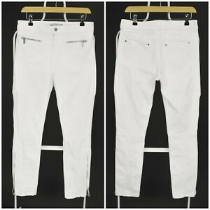 Womens Karen Millen White Skinny Jeans Zip Mid Waist Cotton Size 12UK / EU40