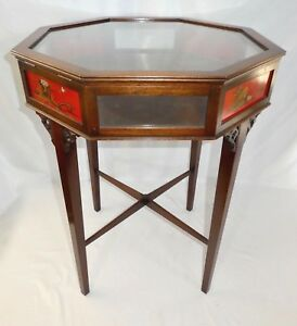 Vintage 8 Sided Vitrine Table By Beacon Hill Collection