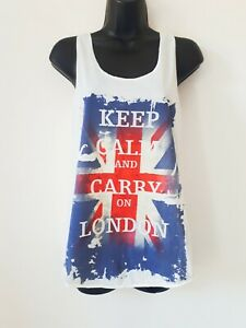 Women-Ladies-White-Summer-cotton-Union-Jack-London-Keep-Calm-Carry-On-Vest-Top