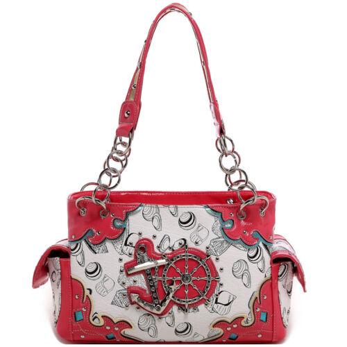 Rhinestone Anchor Rudder Shell Concealed Carry Purse Women Handbag Shoulder Bag