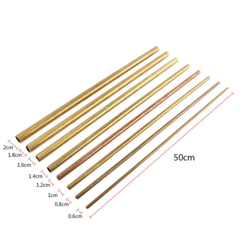 Bendable Round Fine Brass Tube 50CM DIY Craft Pipe Tubing 8MM