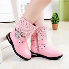 Children Girls Kids Winter Leather Princess Lace Rabbit Shoes Martin Snow Boots