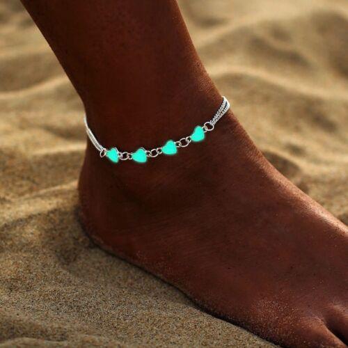 Corazón de plata plateado se iluminan Festival cadena pulsera tobillera playa resplandor oscuro Il