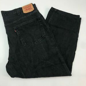 Levi-039-s-550-Denim-Jeans-Mens-46X30-Black-Relaxed-Fit-Straight-100-Cotton-Washed