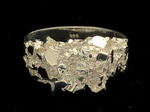Argent Sterling 925 Massif Nugget Anneau Tailles 9-12