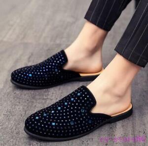 rhinestones mens slipper shoes casual britain gommino slip