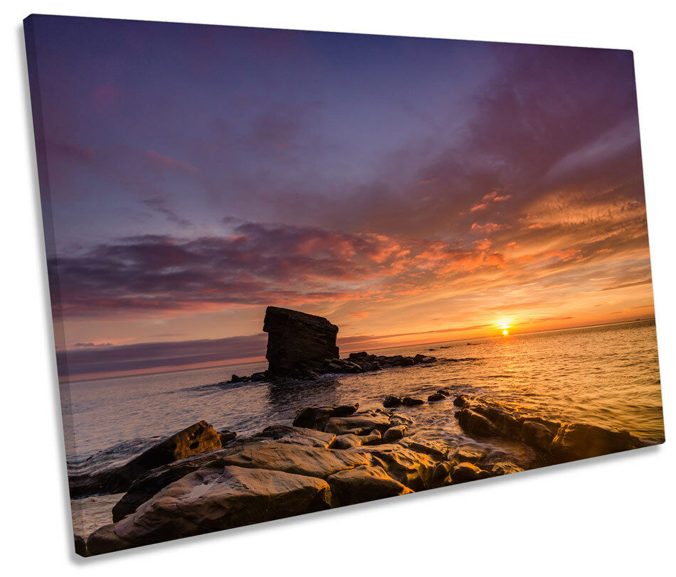Collywell Bay Sunset Northumberland SINGLE CANVAS WALL ART Picture Print