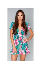 Show Me Your MuMu Ladies Ibiza Mini Lady Luau Stretch Pink Flower Mini Dress-S