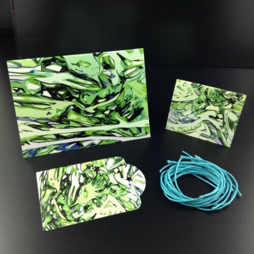 Details about  /Green Note Card Tag Matching Set with Envelope /& String Labels Original Design