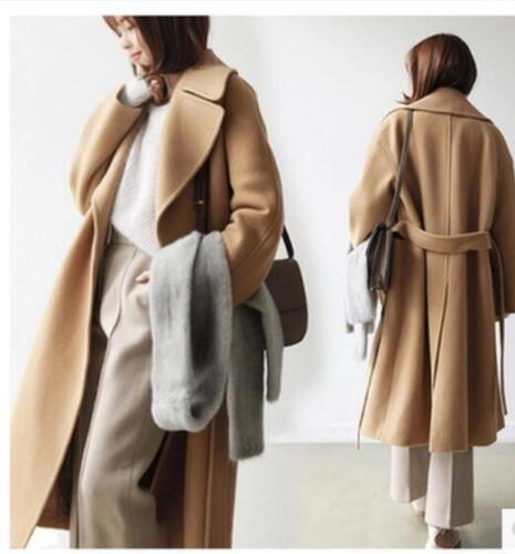 corée laine chaud cachemire revers manteaux dames outwear longues mélange Mode de lâche 7qzSXz